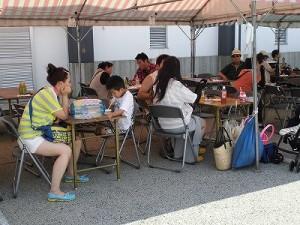 第五陣越前おおのとんちゃん祭のスタッフをしました。 西体育館横の飲食コーナーテントの様子/どこまでもアマチュア