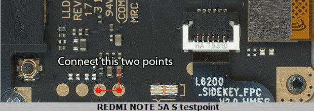 Xiaomi Redmi Note 5A S Test Point For EDL Mode