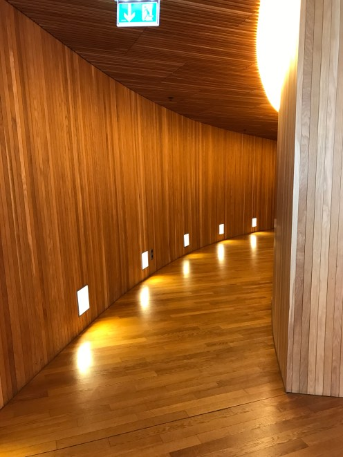 Oak wood pathways leading to the seats