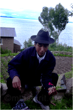 Richard Cari with a Kantuta, National Flower of Peru