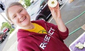 Meghan Humphrey with cut apple