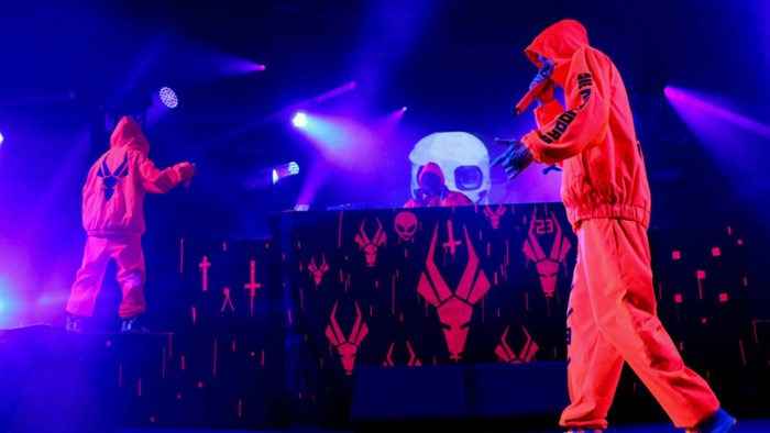Die Antwoord performs a late night set at the 2014 Bonnaroo Music and Arts Festival during the early morning hours of June 14, 2014. (Matt Masters/MTSU Sidelines)