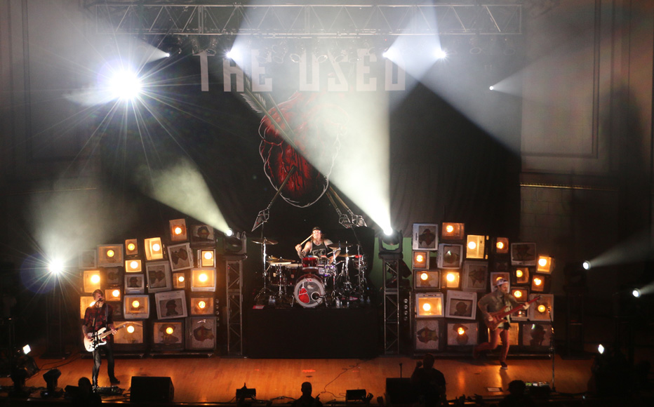 Justin Shekoski, left, Dan Whitesides, middle, Bert McMcracken, silhouetted, and Jeph Howard, right, of The Used perform at the War Memorial Auditorium in Nashville, Tenn. on Tuesday, May 5, 2015. The show was the band's second stop on a co-headlining tour with Chevelle. (MTSU Sidelines / John Connor Coulston)