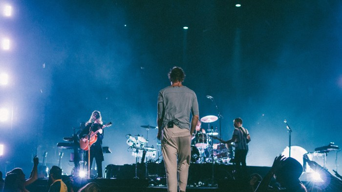 "Imagine Dragons perform at Bridgestone Arena in Nashville, Tenn. on Wednesday, June 8, 2015, The performance was part of the band's ""Smoke + Mirrors"" tour. (MTSU Sidelines / Andre Rowlett)"