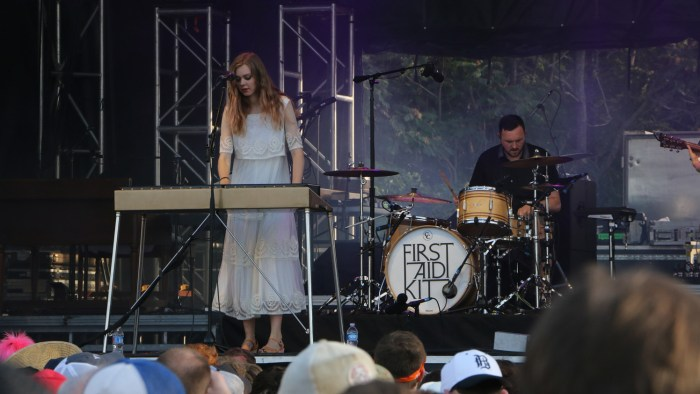 Johanna Söderberg, left, and Scott Simpson, right, of First Aid Kit perform at the Sloss Music & Arts Festival in Birmingham, Ala., on Saturday, July 18, 2015. (MTSU Sidelines / John Connor Coulston)