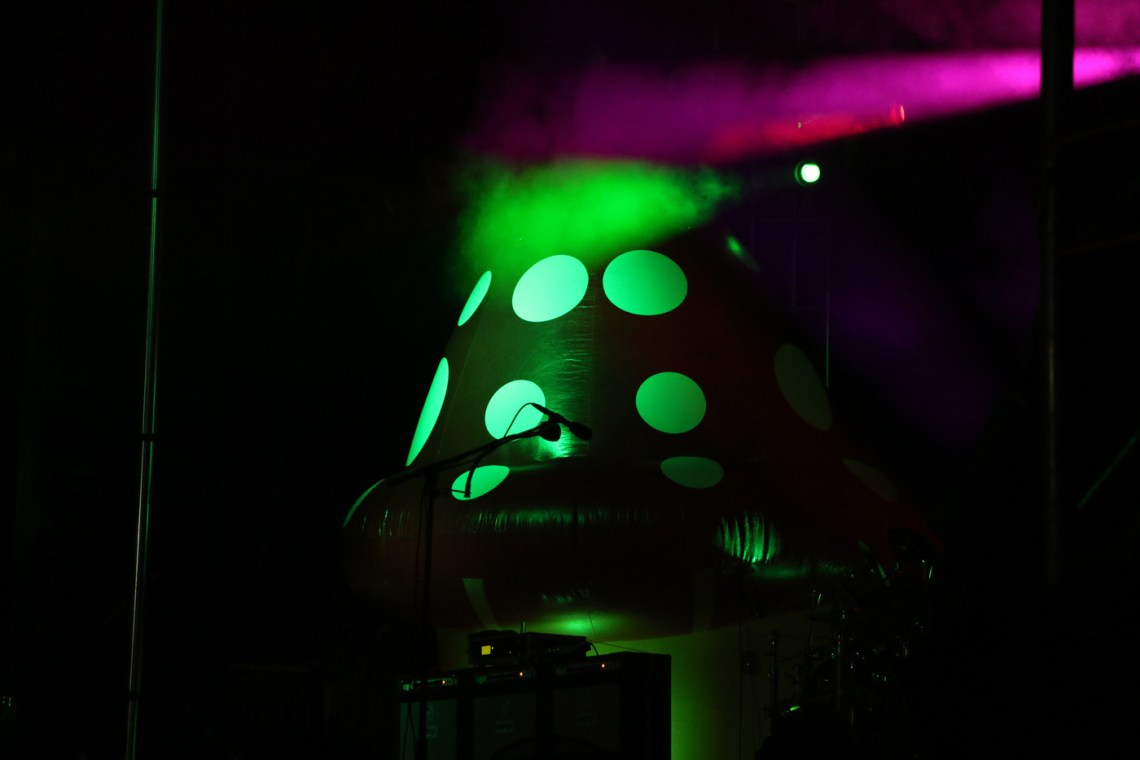 Two inflatable mushrooms seved as the backdrop for Primus' performance at the Sloss Music & Arts Festival in Birmingham, Ala., on Sunday, July 19, 2015. (MTSU Sidelines / John Connor Coulston)