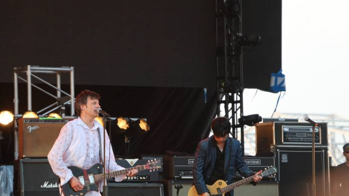 The Replacements' Paul Westerberg performs with Green Day's Billie Joe Armstrong at the Forecastle Festival in Louisville, Kentucky on Sunday, July 20, 2015. (MTSU Sidelines / John Connor Coulston)