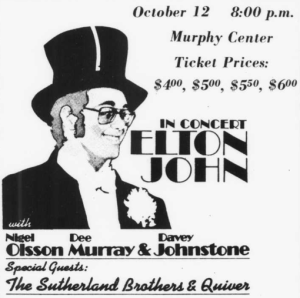 Advertisement for Elton John's performance at Murphy Center on Oct. 12, 1973.(File/MTSU Sidelines)
