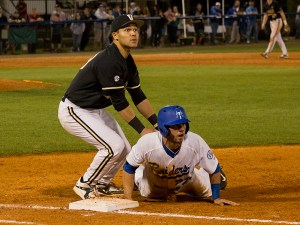 The MTSU Blue Raiders were defeated by the Vanderbilt Commodores 12-7 on Tuesday, March 24, 2015 at Reese Smith, Jr. field. The game brought the third-largest crowd in MTSU baseball history at 2,620 people. (MTSU Sidelines/Matt Masters)