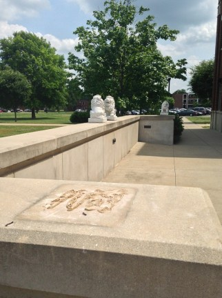 One of the MTSU University Honors college lion sculptures was stolen from its pedestal sometime during finals week of the Spring 2014 semester. MTSU Sidelines / John Connor Coulston)