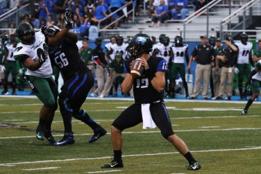 "The MTSU Blue Raiders defeated the Charlotte 49ers on Saturday, September 19th at the Johnny ""Red"" Floyd Stadium in Murfreesboro, TN (MTSU Sidelines/Meagan White)."