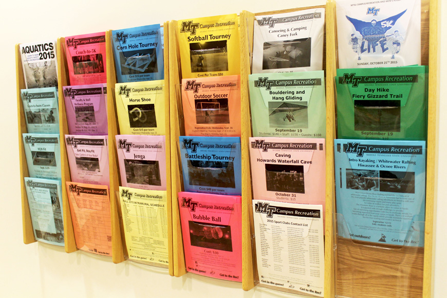 Activity fliers that are free to take at the entrance to the Recreation Center (MTSU Sidelines/ Emily Austin)