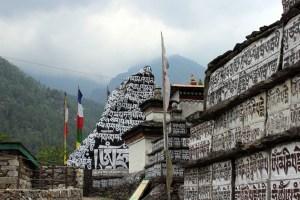 Tibetan language Buddhist prayers carved in rocks on the way to Mt. Everest. (MTSU Sidelines/ Elizabeth Enck)