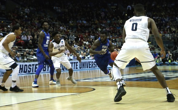 Giddy Potts drives in the open space during an NCAA Tournament second-round game against Butler in Milwaukee, WI on March 19, 2017. (MTSU Sidelines/Tyler Lamb)