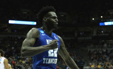 JaCorey Williams celebrates after an And-1 made basket in an NCAA Tournament first-round game against Minnesota in Milwaukee, WI on March 16, 2017. (MTSU Sidelines/Tyler Lamb)