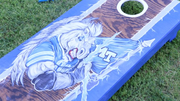 Cornhole boards were set up for guests to play with on April 15, 2017. (Caleb Revill / MTSU Sidelines)
