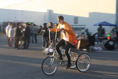 A tricyclist rides at Boro Fondo Bazaaro Saturday. (Sidelines / Wesley McIntyre)