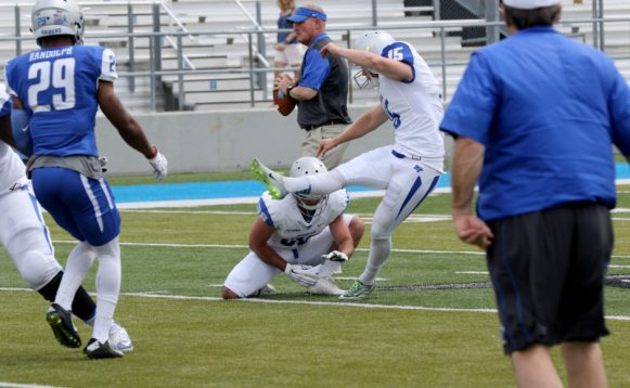 Placekicker Canon Rooker knocking one through from deep range during the Blue-White Spring Finale at Floyd Stadium on April 15, 2017. (MTSU Sidelines/Tyler Lamb)