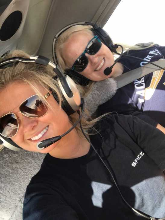 Lindskoug snaps a selfie with Cantrell in their aircraft. (Submitted: Gabriella Lindskoug)