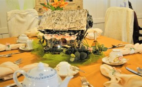 Hand-crafted fairy homes serves as the tables' centerpiece at the Southern Charm Woodland Fairy Tea Party in Bell Buckle, Tenn. on July 8, 2017. (Meredith White / MTSU Sidelines)