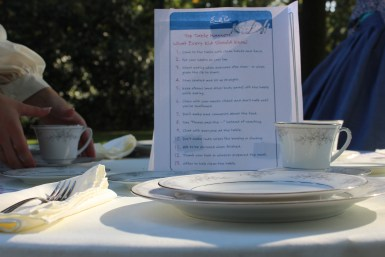 A table etiquette station for children to see proper place settings is on display at Oaklands Mansion's Autumn in the Oaks Educational Field Day in Murfreesboro, Tenn. on September 21, 2017. (Shade Narramore / MTSU Sidelines).