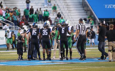 Captains Canon Rooker, Mike Minter and Terrelle West meet at midfield against Marshall on October 20, 2017 in Murfreesboro, TN (Devin P. Grimes/MTSU Sidelines)