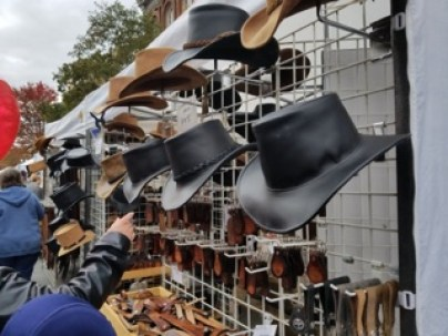 Cowboy hats are included in items available for purchase at PumpkinFest in Franklin, Tenn. on Oct. 28, 2017. (Gerardo Palacios / MTSU Sidelines)