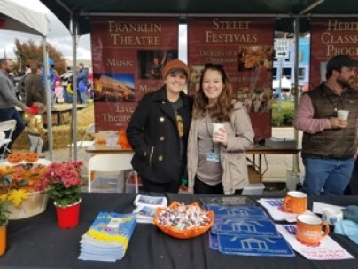 Annabeth Hayes (right) and Ashley Brandon (left) stop for a photo at PumpkinFest in Franklin, Tenn. on Oct. 28, 2017. (Gerardo Palacios / MTSU Sidelines)
