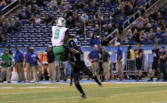 Safety Javonte Moffatt makes open field against wide receiver Marcell Williams against Marshall on October 20, 2017 in Murfreesboro, TN (Devin P. Grimes/MTSU Sidelines).