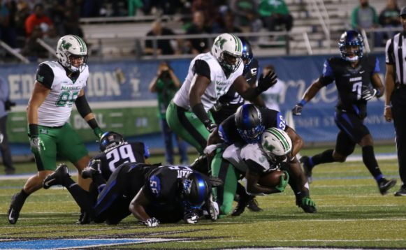 Middle Tennessee had success stopping the running game against Marshall on October 20, 2017 in Murfreesboro, TN (Devin P. Grimes /MTSU Sidelines).