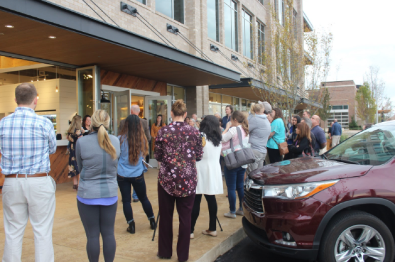 A crowd gathers before the ribbon cutting of The Soda Bar and Homegrown Marketplace in Murfreesboro, Tenn. on Nov. 1, 2017. (Shade Narramore / MTSU Sidelines)