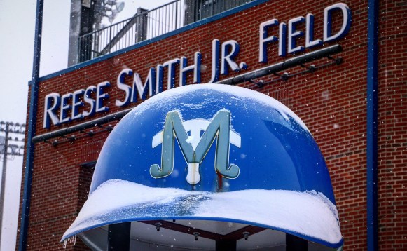 Reese Smith Jr. Field was a snowy sight to see on Jan. 16, 2018 (Devin P. Grimes / MTSU Sidelines).