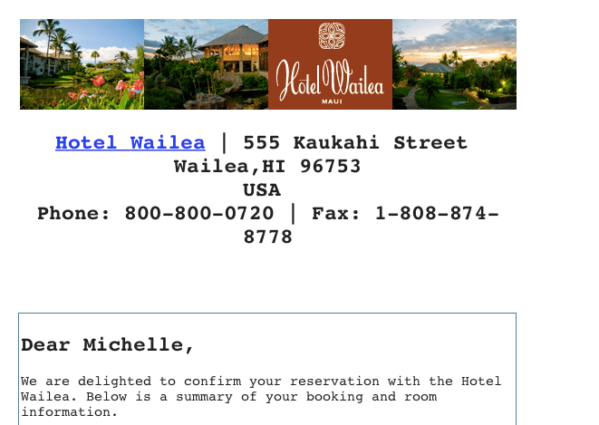 Hotel Wailea 2009 email confirmation