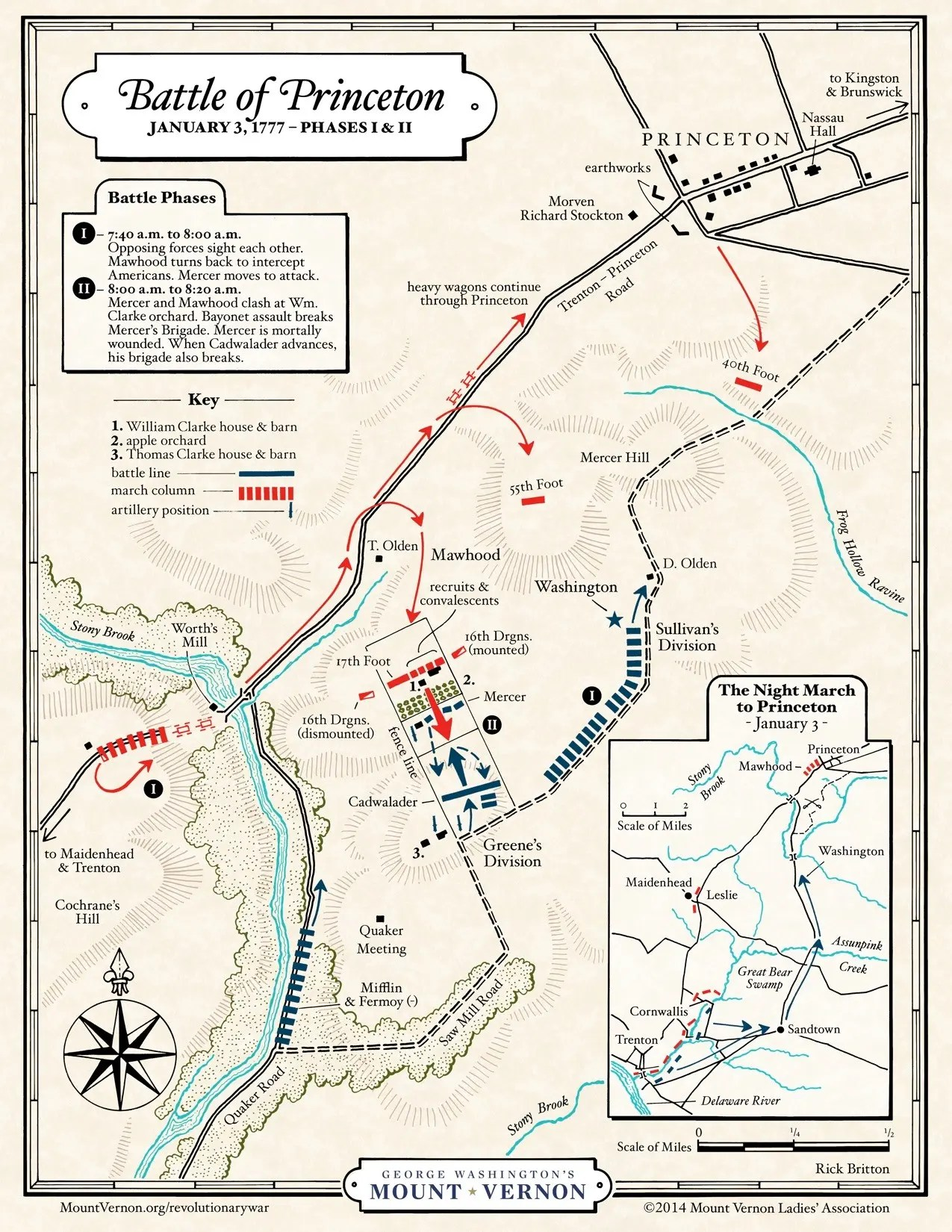 Map The Battle Of Princeton Phases I Amp Ii George