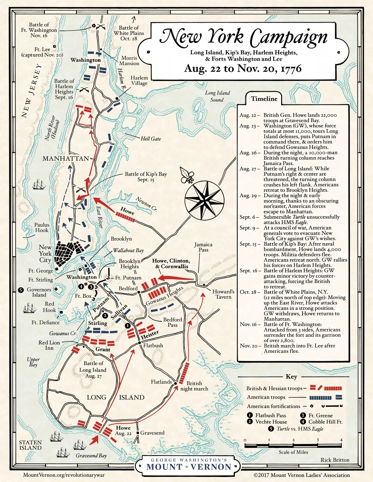 Map The New York Campaign George Washington S