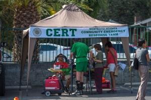 CERT Booth - Mt. Washington Jessica Neighborhood Earthquake Drill 10/18/14 - photo by Martha Benedict