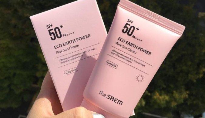 kem chong nang the saem eco earth power pink sun cream spf50 pa 3
