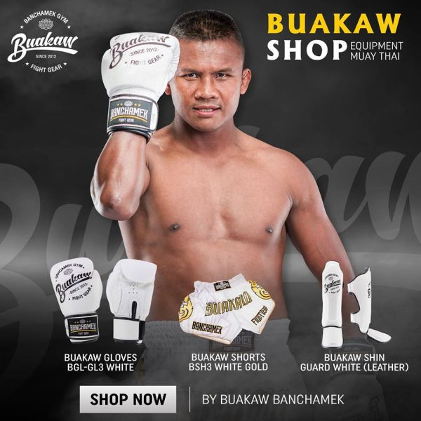 Buakaw Banchamek Gear White Shorts And Gloves