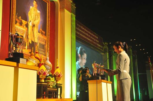 Deputy Governor of Bangkok delivering a royal tribute and blessing