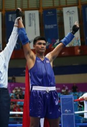 Winner of the Asian Indoor Martial Arts Games Supachai Pansuvan from Thailand