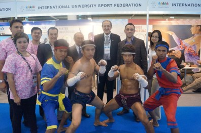 The IFMA team at the FISU Booth at the 2013 SportAccord Convention