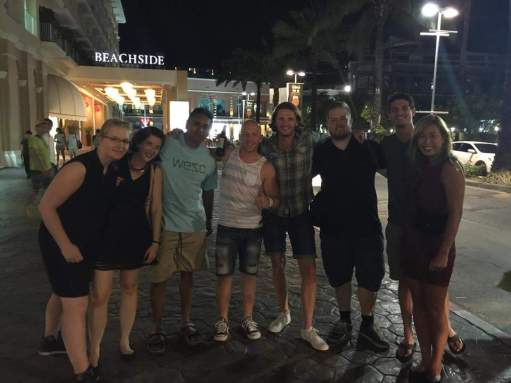 Our happy group with new people on a party night in Patong