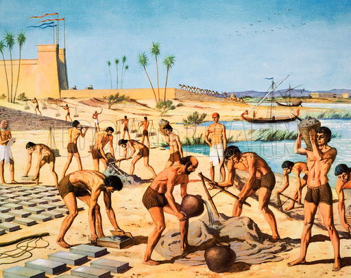 Israelites making bricks for Egyptian task-masters
