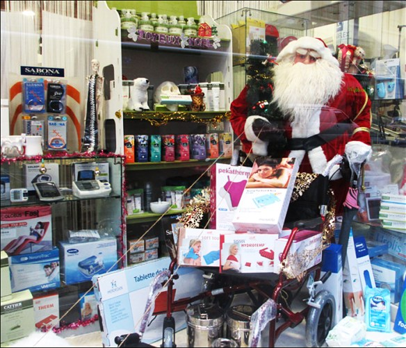 The first Christmas window – the medical supply store; pic: Steve Sampson