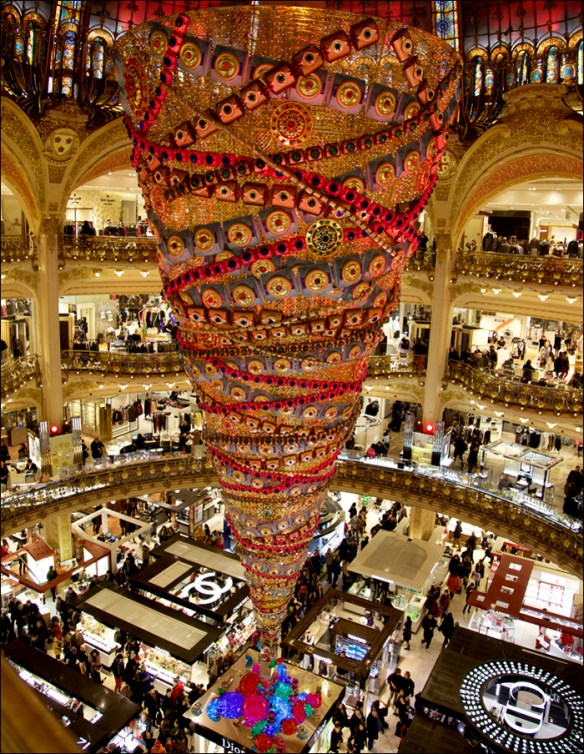 The upside down tree; Galeries Lafayette;Printemps facade, pic: Steve Sampson