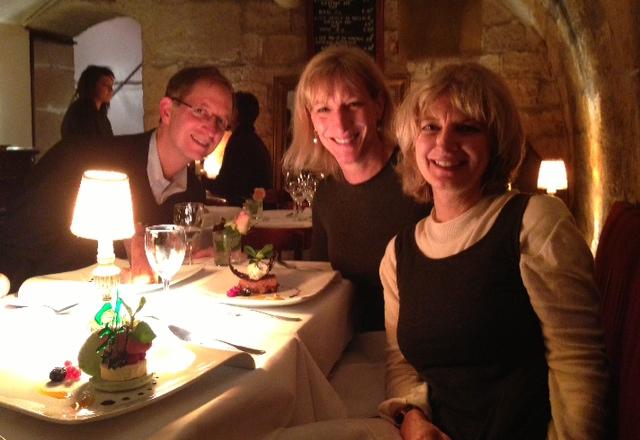 Hugh, Lauren, and Brenda at dinner at Le Reminet