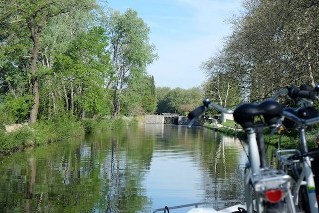 Approaching lock on Canal du Midi trip