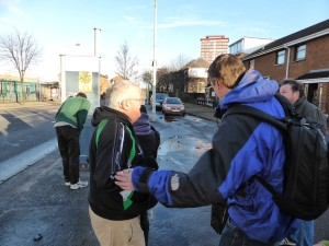 Jack Duffin on left as our group winds up Falls Avenue in Belfast