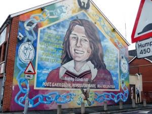 Mural for Bobby Sands and Sinn Fein Headquarters