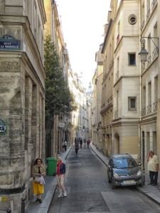 Our medieval street, Rue de Bievre. The French President François Mitterand had lived halfway down the block.